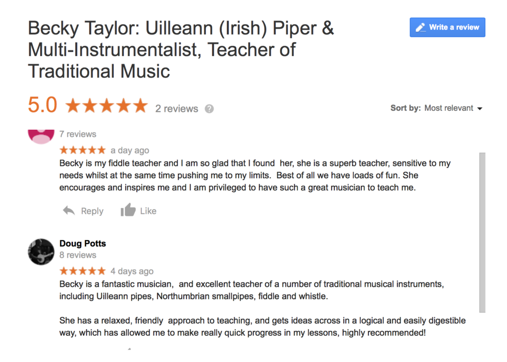 Reviews of fiddle and pipe teaching by Becky Taylor
