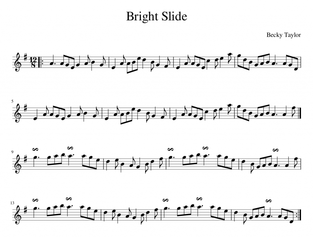 Music score of 'Bright Slide' by Becky Taylor